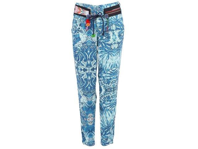 Modré květované kalhoty Desigual Hawai