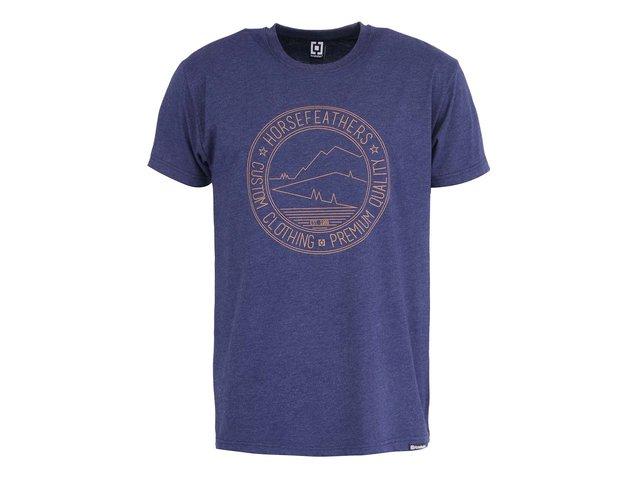 Modré pánské triko s potiskem Horsefeathers Stamp