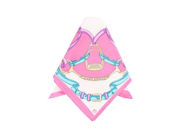 Růžový hedvábný šátek s potiskem Fraas
