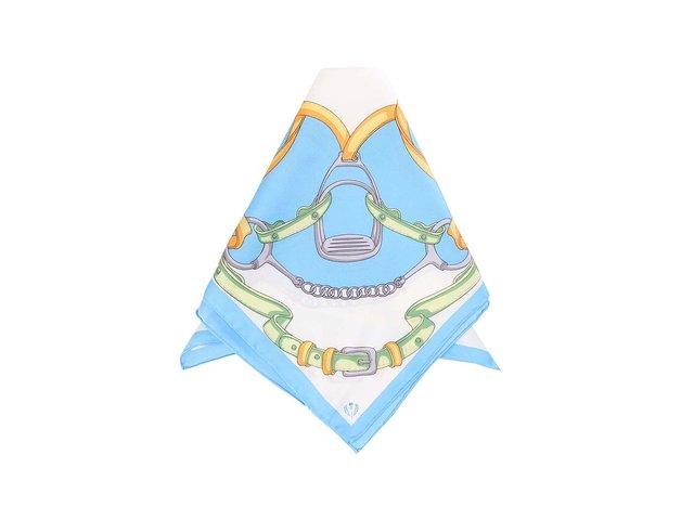 Modrý hedvábný šátek s potiskem Fraas