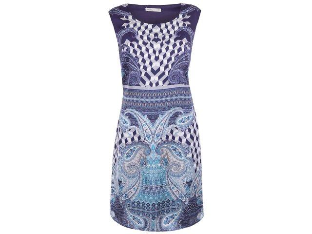 Tmavě modré šaty s geometrickými vzory Lavand