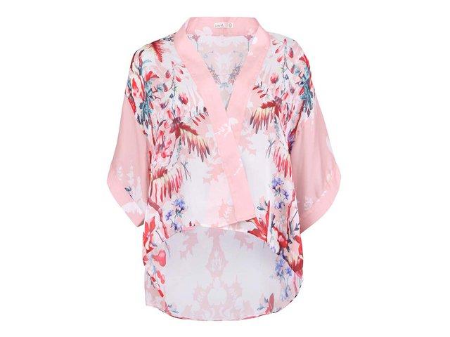 Růžové dámské kimono s květinovým potiskem Lavand