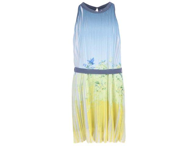 Žluto-modré šaty se zavazováním v pase na stuhu Lavand