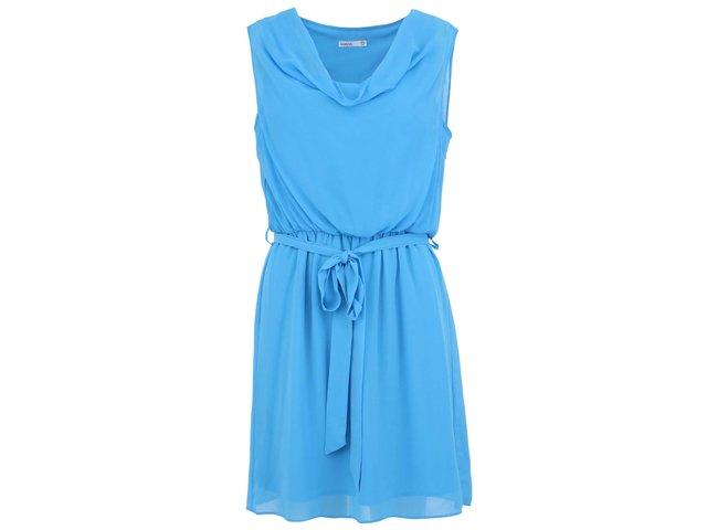 Modré šaty se zavazováním v pase na stuhu Lavand