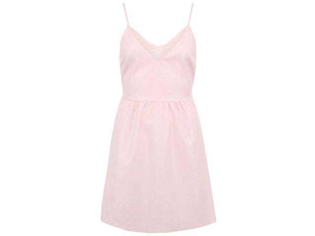 Pudrově růžové koženkové šaty ONLY Tilde