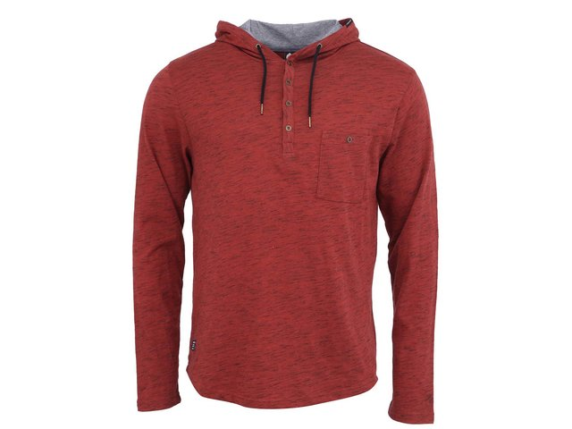 Tmavě červené melírované pánské triko s dlouhým rukávem a kapucí Ragwear Fall