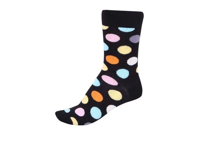 Černé dámské ponožky s barevnými puntíky Happy Socks Big Dots