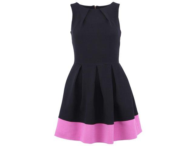 Černé šaty s fialovorůžovým lemem Closet
