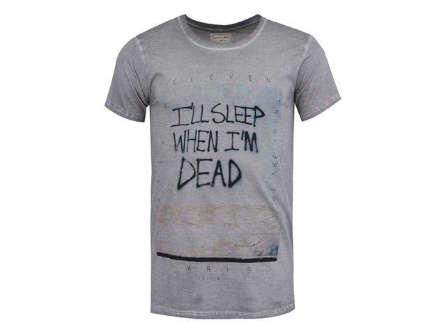 Šedé pánské triko s potiskem Eleven Paris Dead