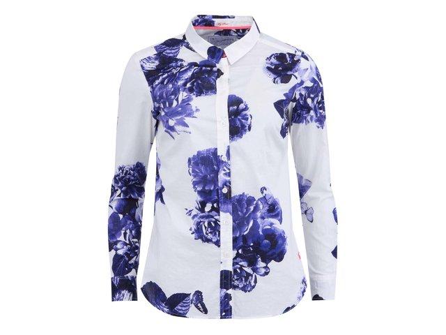 Bílá košile s modrým květinovým potiskem a s dlouhým rukávem Tom Joule Maywell
