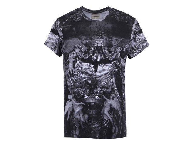 Tmavě šedé pánské triko s potiskem Eleven Paris Hoky