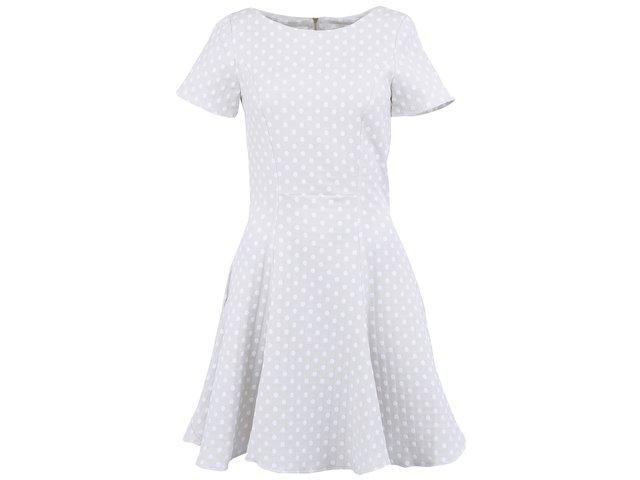 Světle šedé šaty s bílými puntíky Almari