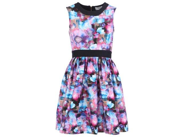 Růžovo-modré volnější šaty s černým lemováním Almari