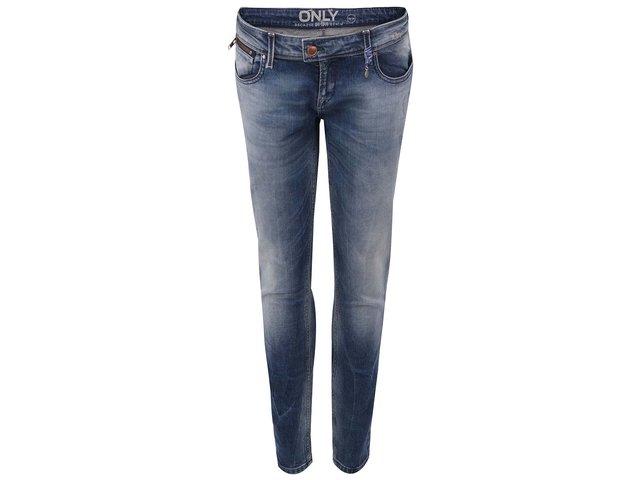 Modré slim džíny s vyšisovaným efektem ONLY Tracy