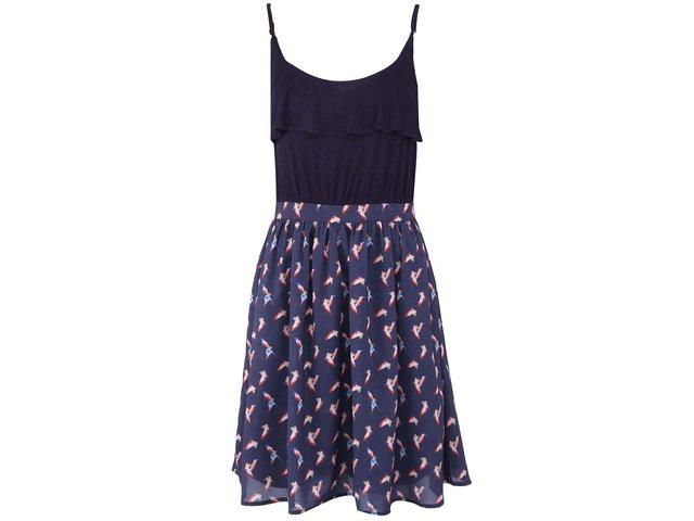 Tmavě modré šaty s ptáčky Kling Licata