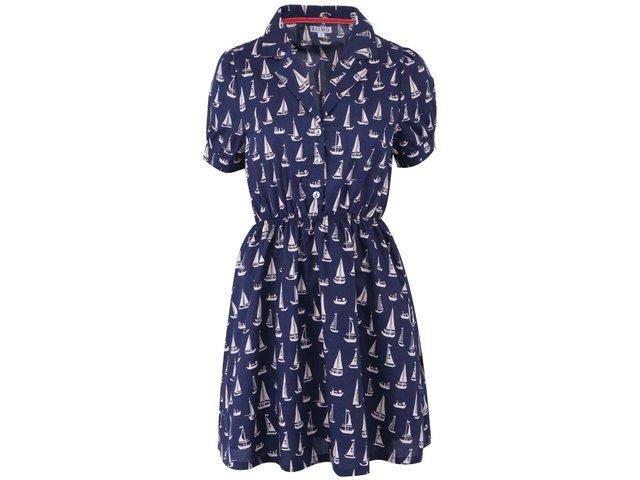 Tmavě modré košilové šaty s plachetnicemi Kling Mave