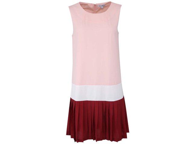 Růžové šaty s bílým lemem Kling Imola