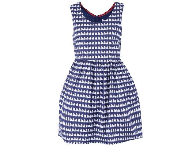 Tmavě modré šaty s bílými plachetnicemi Kling Basttelli