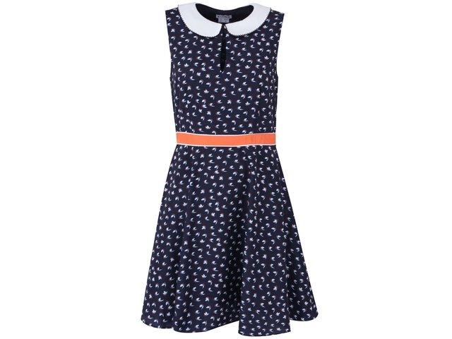 Tmavě modré šaty s límečkem Kling Lido