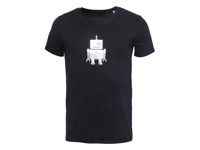 Černé pánské triko se stříbrným robotem ZOOT Originál