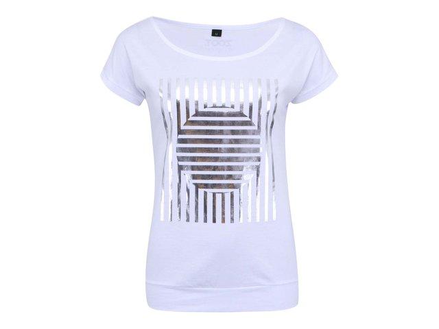 Bílé dámské triko se stříbrnými pruhy ZOOT Originál