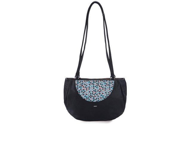 Černá kabelka s tyrkysovým vzorováním Skunkfunk Aula