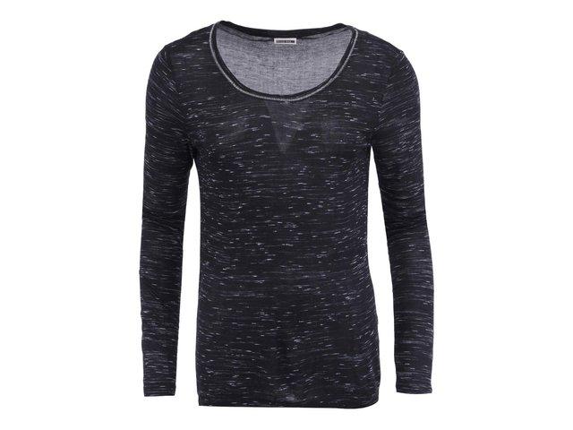 Černé žíhané tričko s dlouhým rukávem Noisy May Jimmy