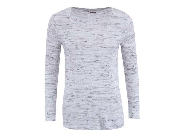 Bílé žíhané tričko s dlouhým rukávem Noisy May Jimmy