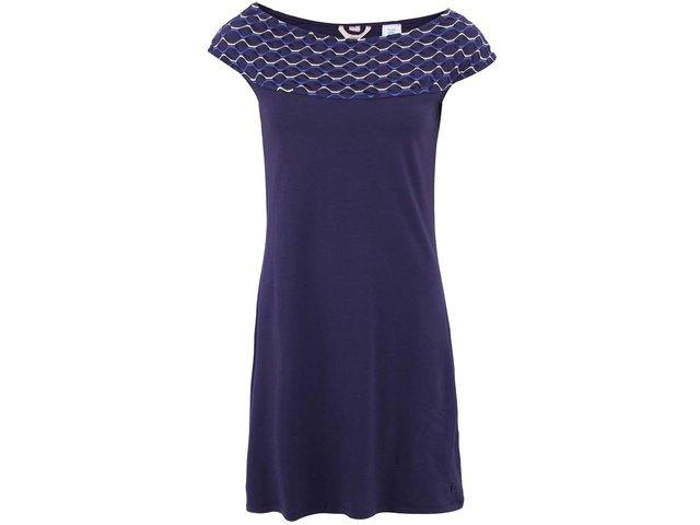 Tmavě modré šaty s lodičkovým vzorovaným výstřihem Skunkfunk Lilibeth