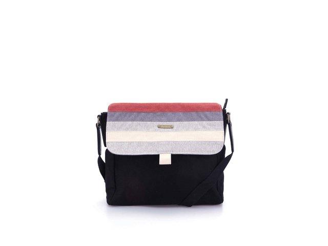 Černá obdelníková kabelka s pruhy Skunkfunk Pelosa