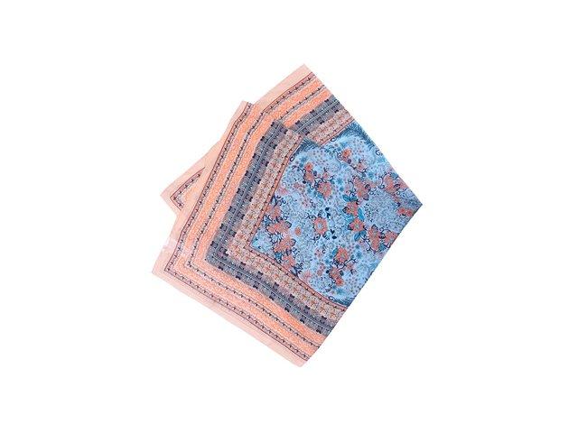 Meruňkovo-modrý vzorovaný hedvábný šátek Pieces Josselia