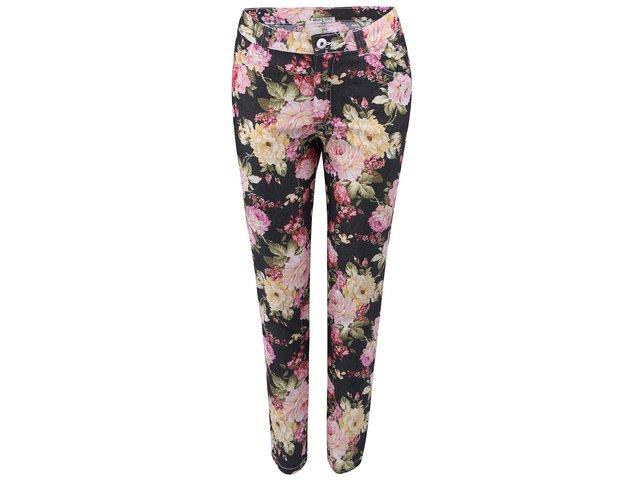 Černé kalhoty s květinovým potiskem Brave Soul Jeanie