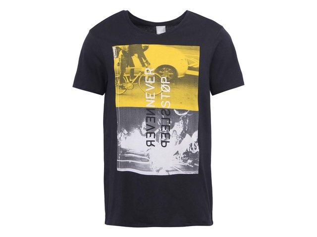 Černé pánské triko s potiskem Bench Stop Sleep