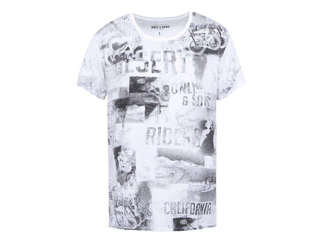 Bílé triko s potiskem ONLY & SONS Luther