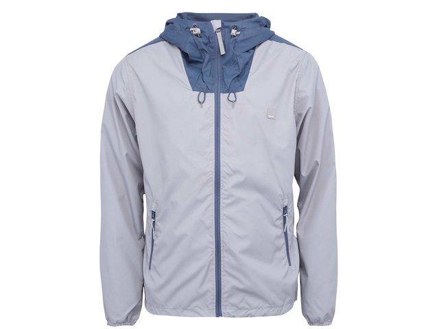 Modro-šedá pánská lehká bunda s kapucí Bench Fullin