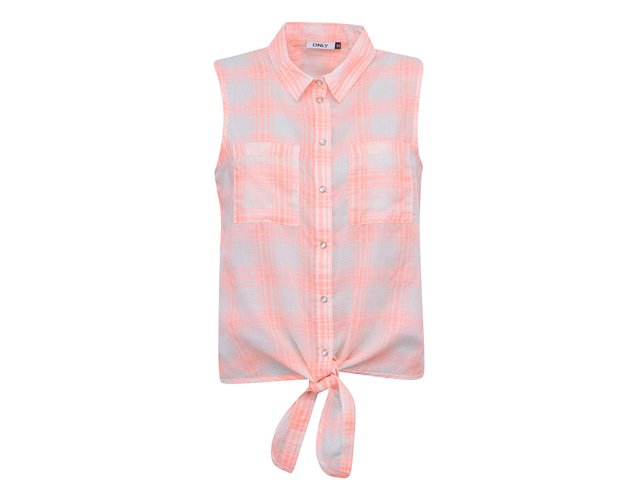 Bílá košile bez rukávů s neonově oranžovým vzorem ONLY Rose
