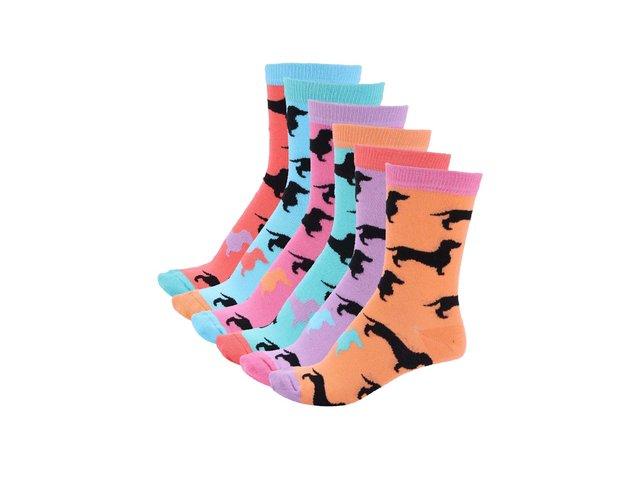 Sada šesti dámských ponožek s jezevčíky Oddsocks Hotdog