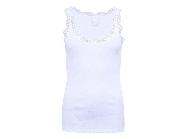 Bílé tílko s krajkovým lemem Vero Moda Lena