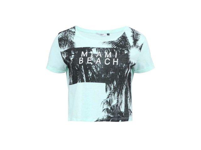 Mentolové kratší triko s potiskem ONLY Ella