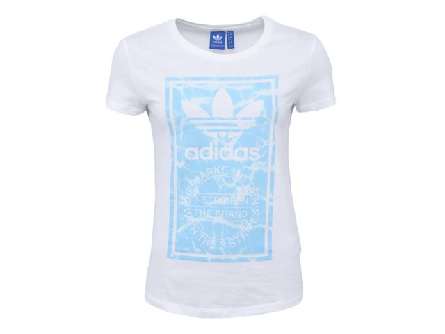 Bílé dámské tričko s logem a barevným potiskem adidas Originals