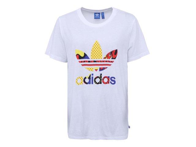 Bílé dámské volnější tričko s barevným logem adidas Originals