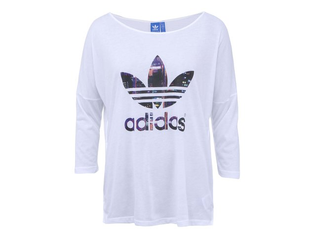 Bílé dámské volnější tričko s logem a dlouhými rukávy adidas Originals