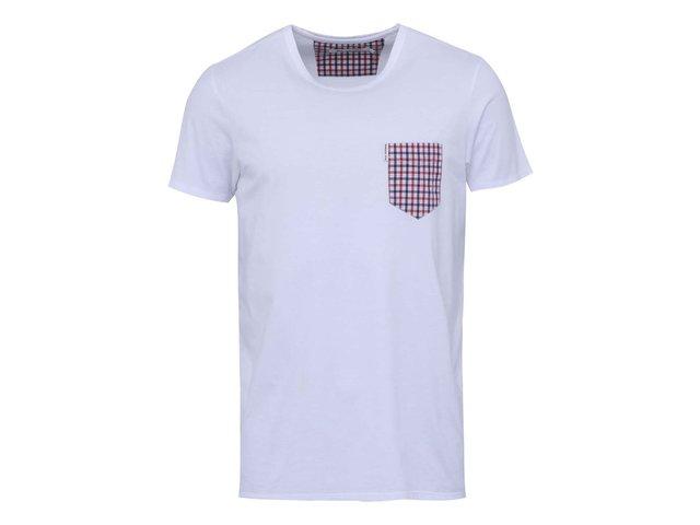 Bílé triko s kostkovanou náprsní kapsou Ben Sherman