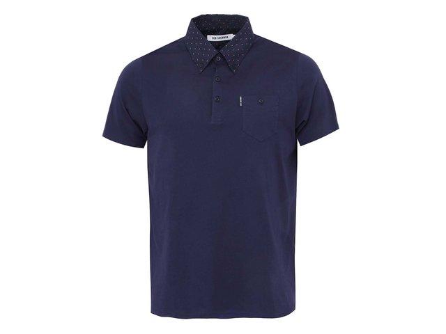 Tmavě modré polo triko s puntíkovaným límečkem Ben Sherman
