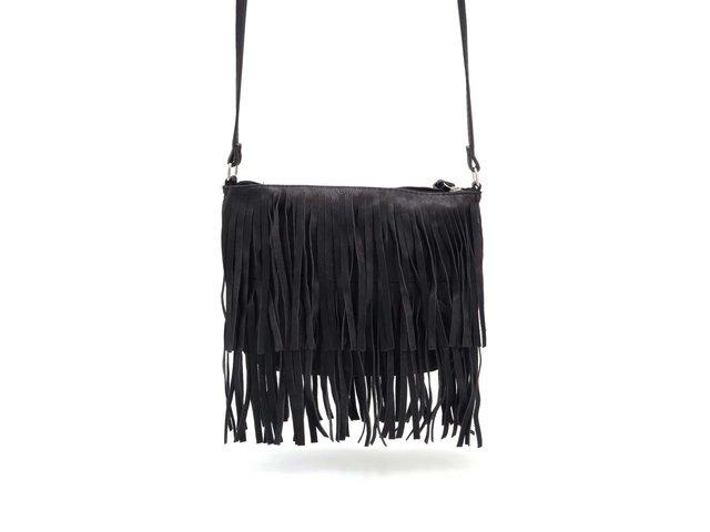 Černá kabelka s třásněmi Pieces Nera