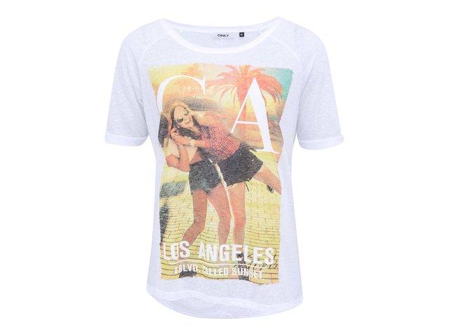 Bílé tričko s oranžovým potiskem ONLY Summer girl