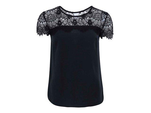 Černý volnější top s krajkovým detailem Vero Moda Tammi