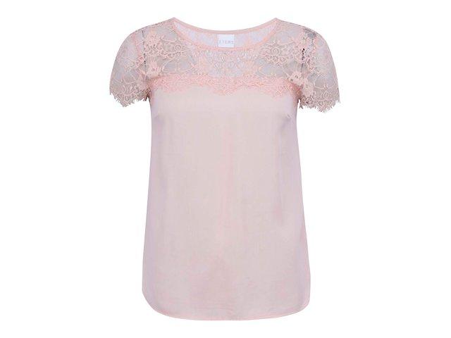 Růžový volnější top s krajkovým detailem Vero Moda Tammi