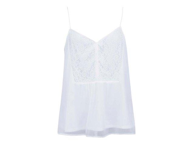 Bílé volnější tílko s krajkovým detailem Vero Moda Joanna