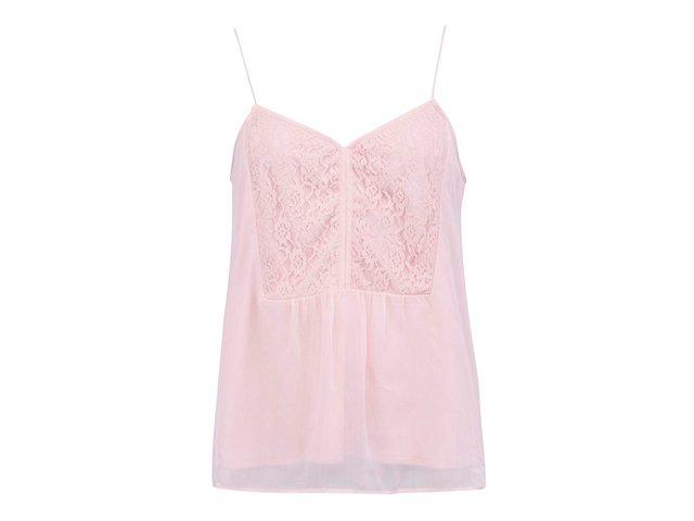 Růžové volnější tílko s krajkovým detailem Vero Moda Joanna